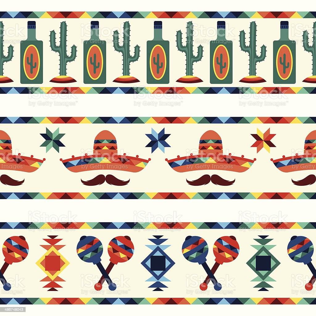 Mexican seamless borders with icons in native style. vector art illustration