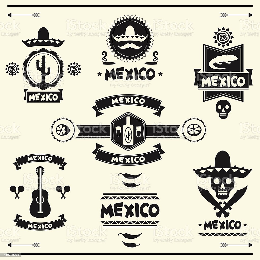 Mexican set of labels and stickers with icons. vector art illustration