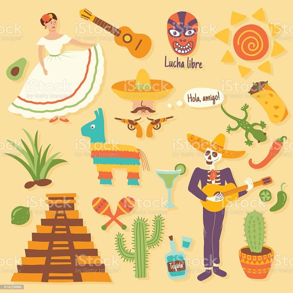 mexican set vector art illustration