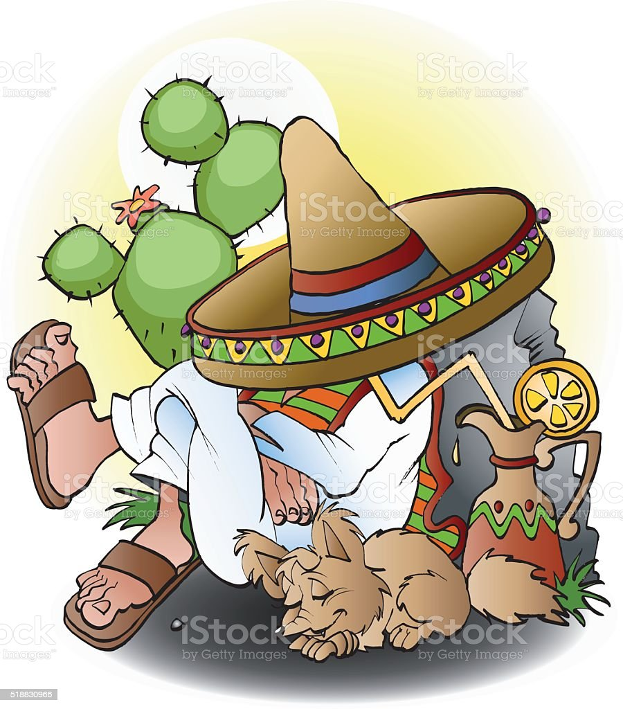 Mexican siesta vector art illustration