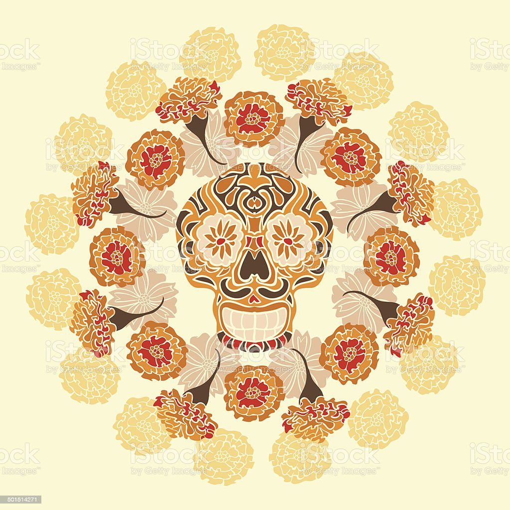 Mexican skull with merigold pattern royalty-free stock vector art