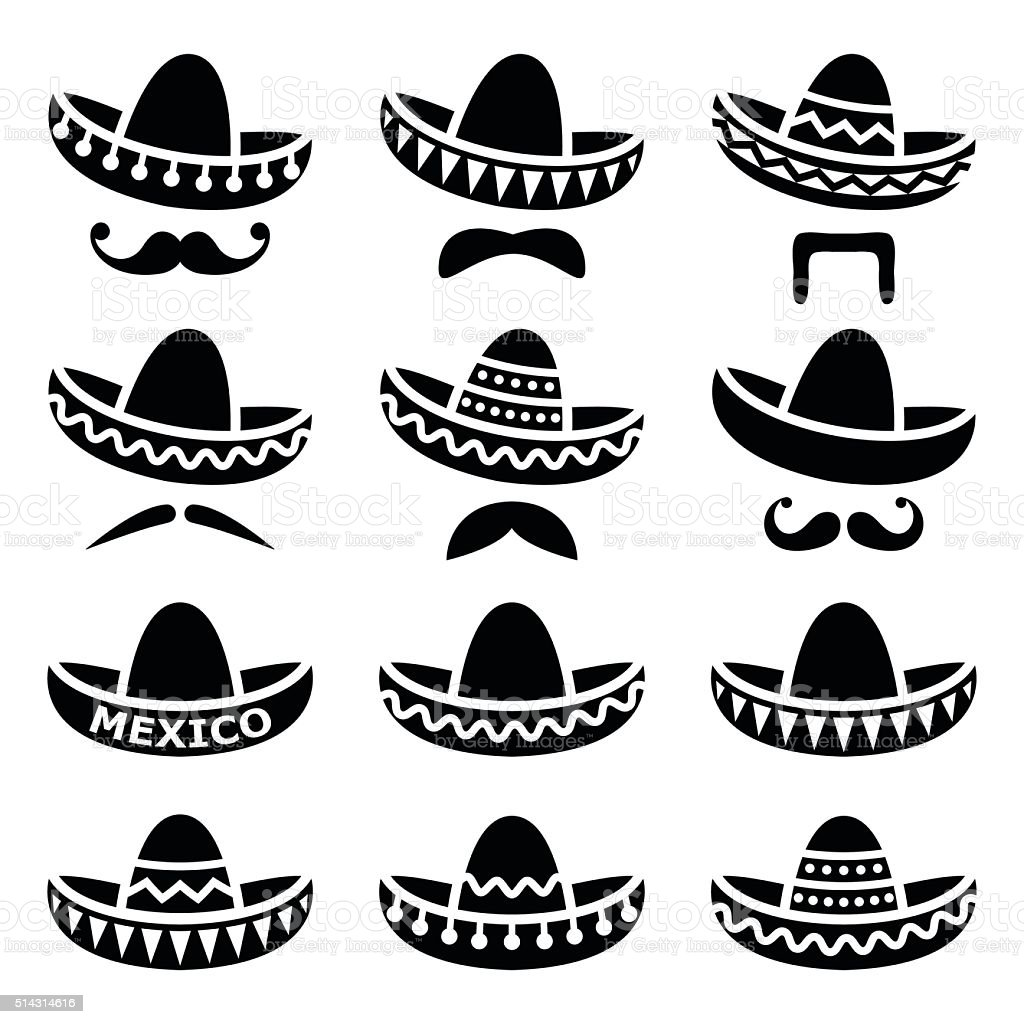 Mexican Sombrero hat with moustache or mustache icons vector art illustration