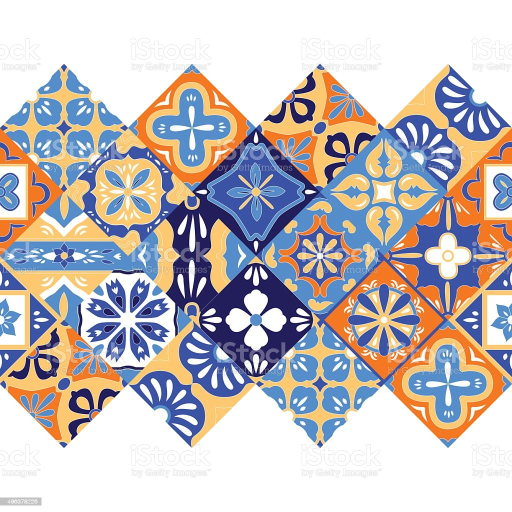 Mexican stylized talavera tiles seamless border in blue orange and vector art illustration