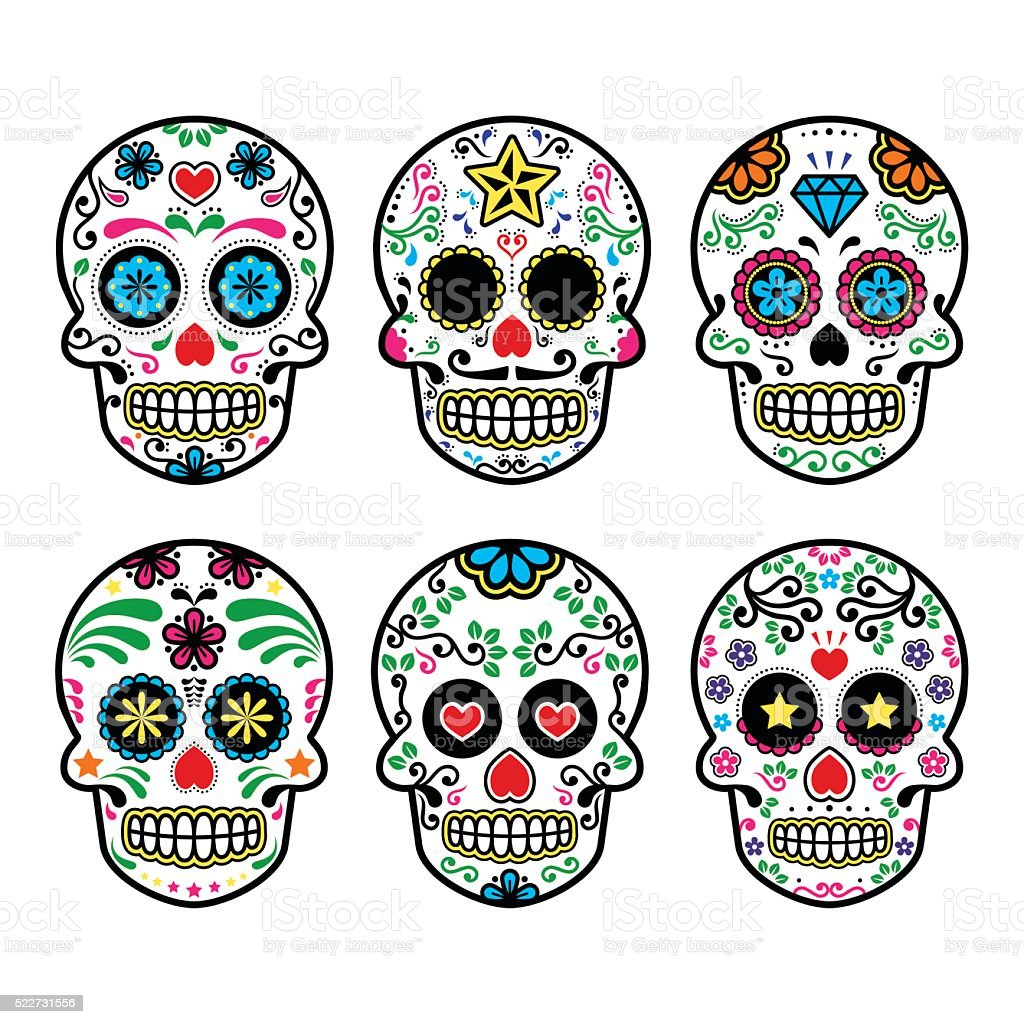 Mexican sugar skull, Dia de los Muertos icons vector art illustration
