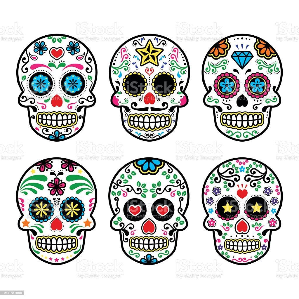 Mexican sugar skull, Dia de los Muertos icons vector art illustration