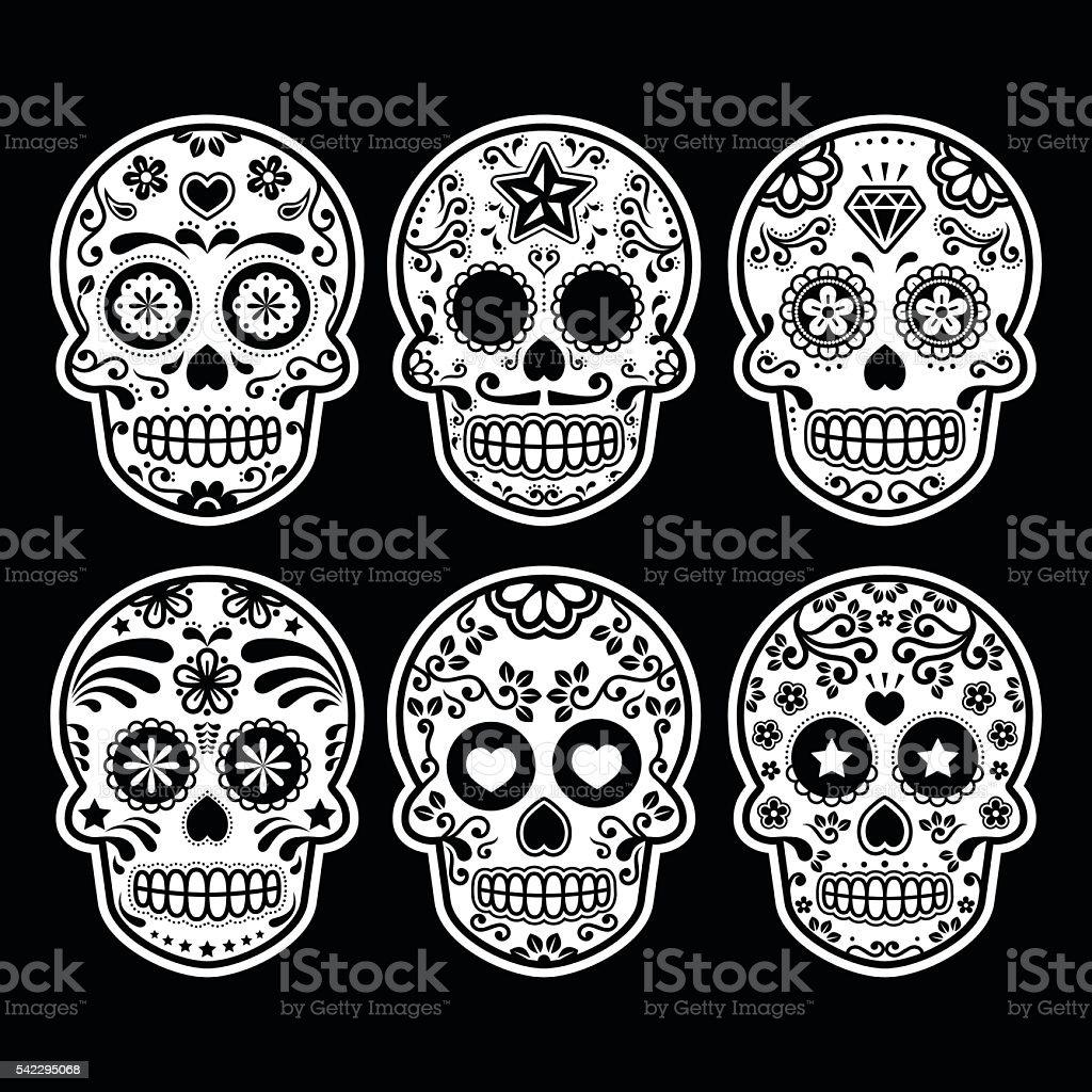 Mexican sugar skull icons set on black vector art illustration