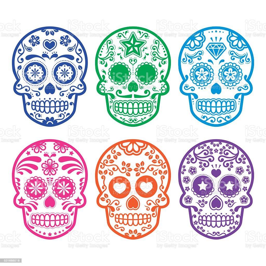 Mexican sugar skull icons set vector art illustration