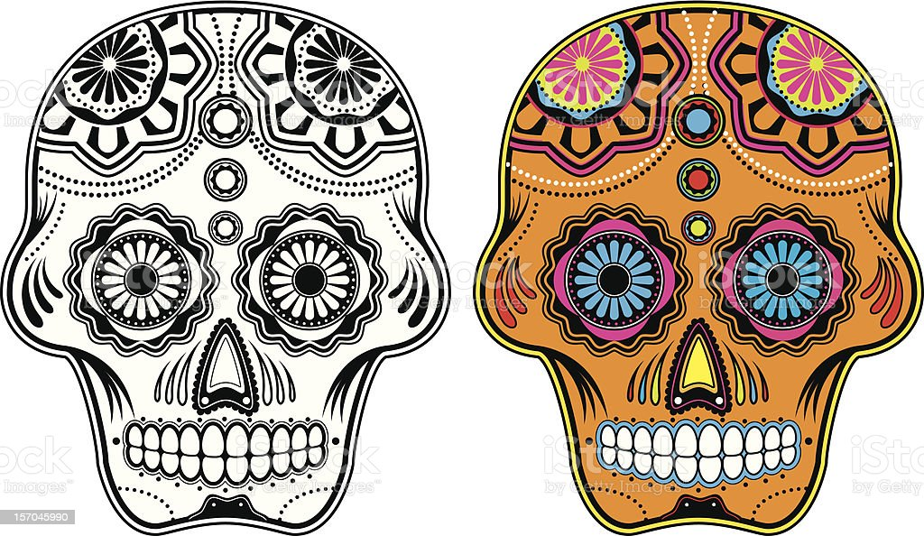 Mexican sugar skulls one black and white and one colored vector art illustration