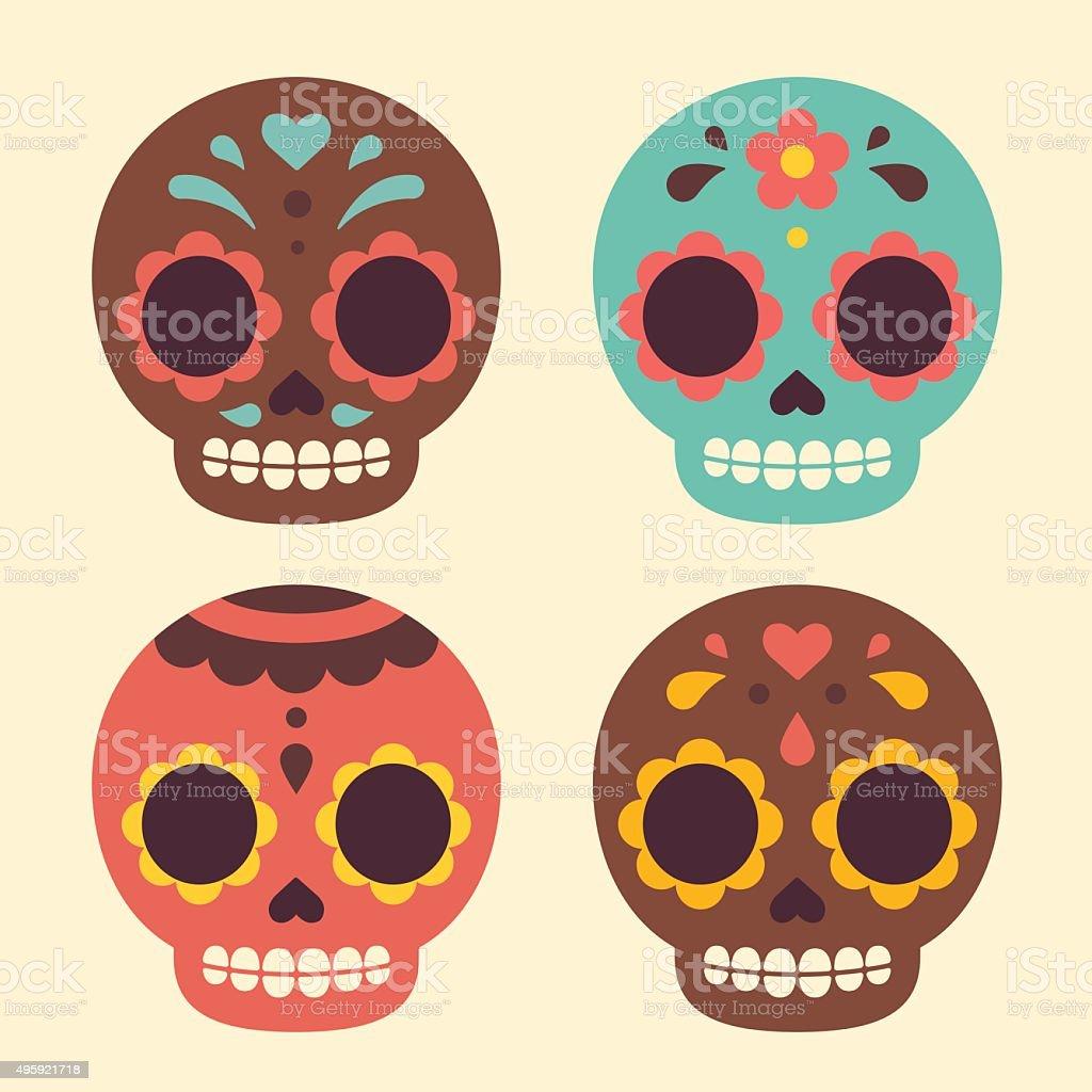 Mexican sugar skulls vector art illustration
