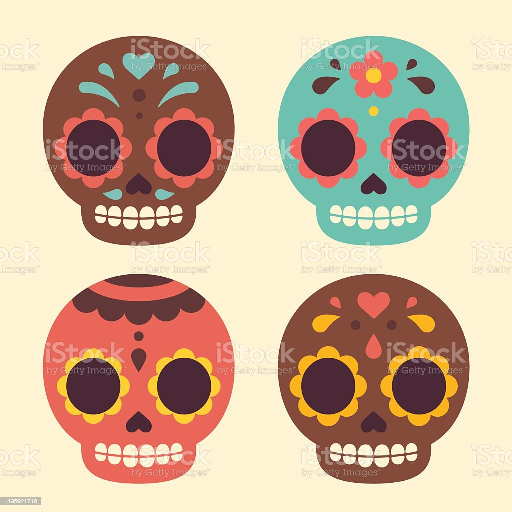Mexican sugar skulls vector art illustration