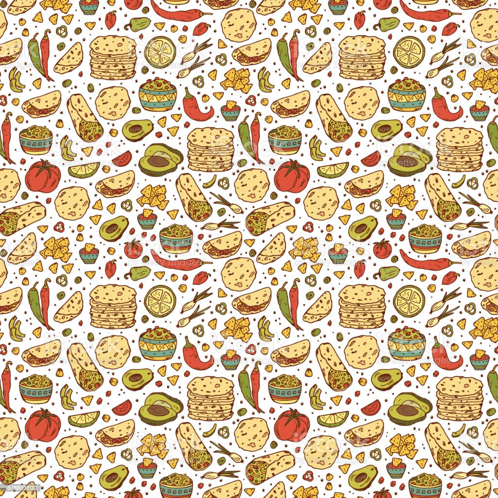 Mexican tradition Food Vector Seamless pattern vector art illustration