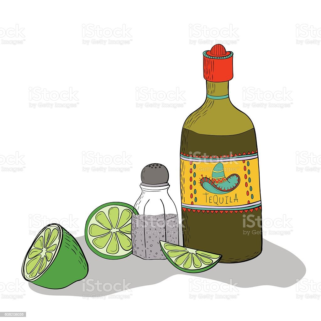 Mexican traditional drink vector art illustration