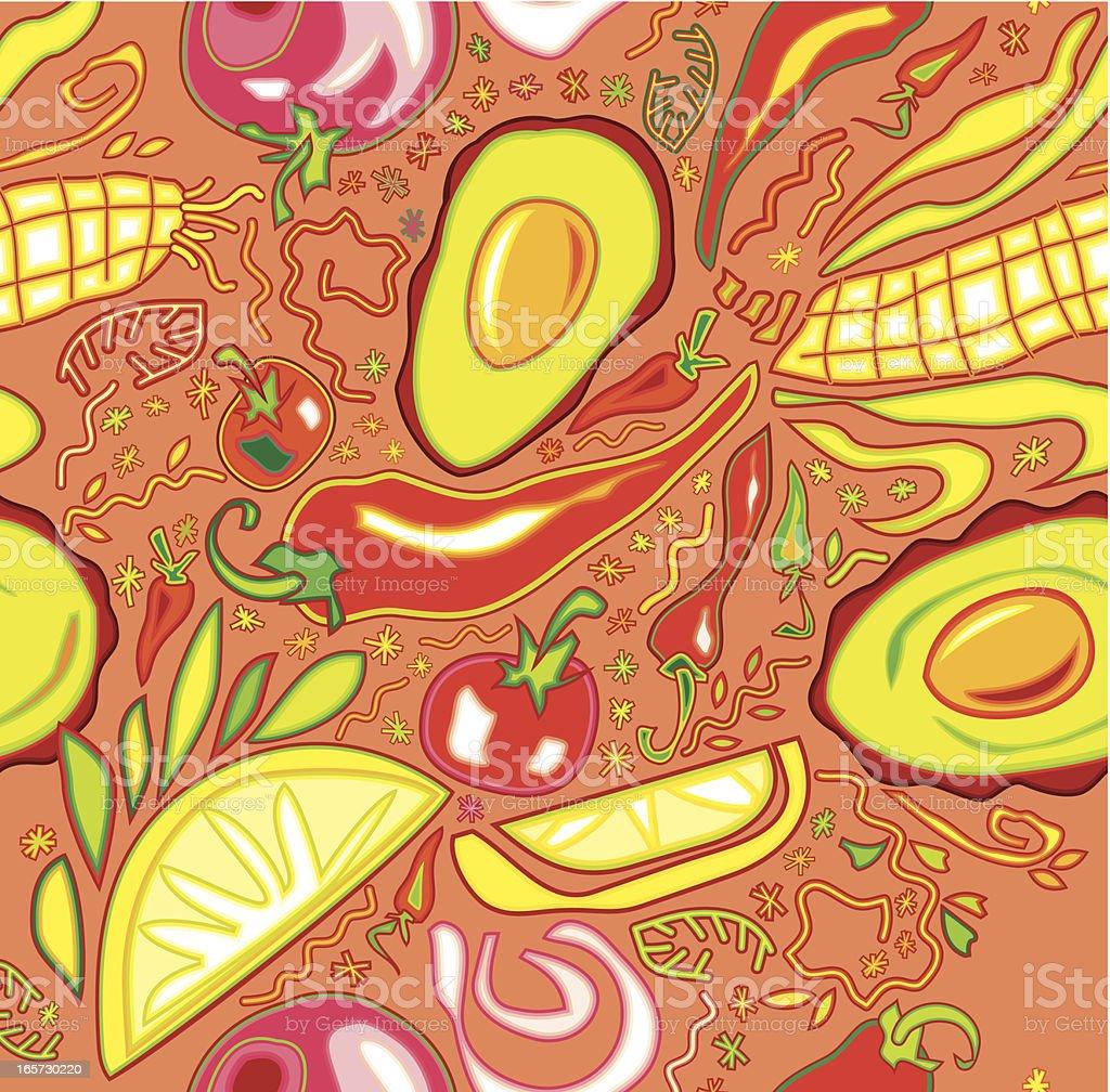 Mexican Vegetable Pattern (Pink) vector art illustration