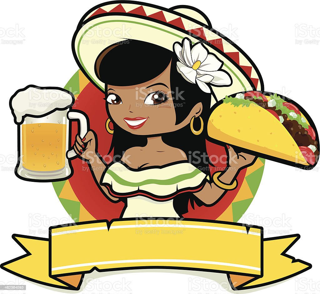 Mexican woman holding a cold beer and taco vector art illustration
