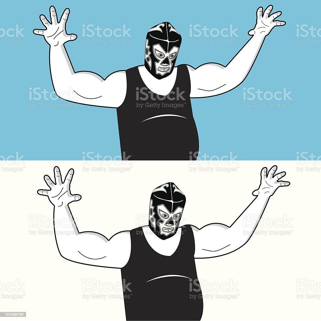 mexican wrestler attacks vector art illustration