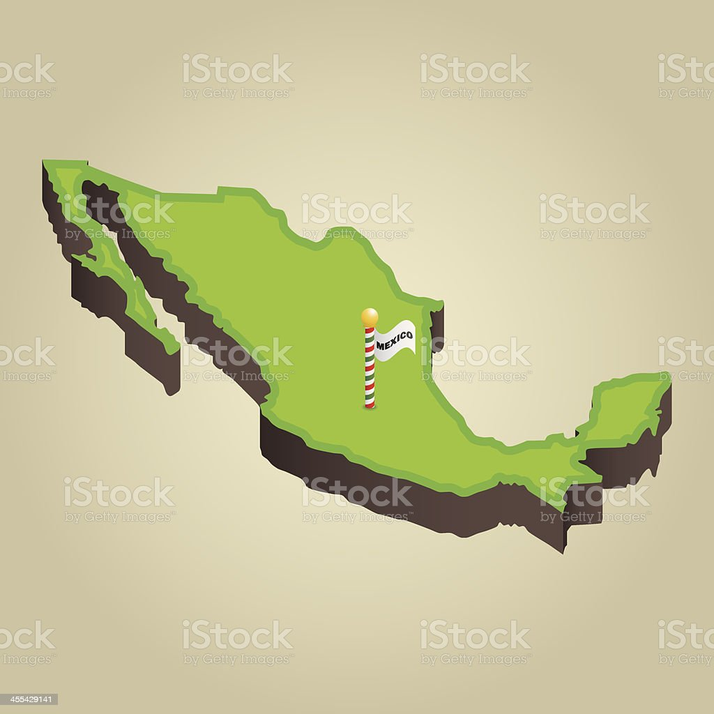 Mexico 3D Map royalty-free stock vector art