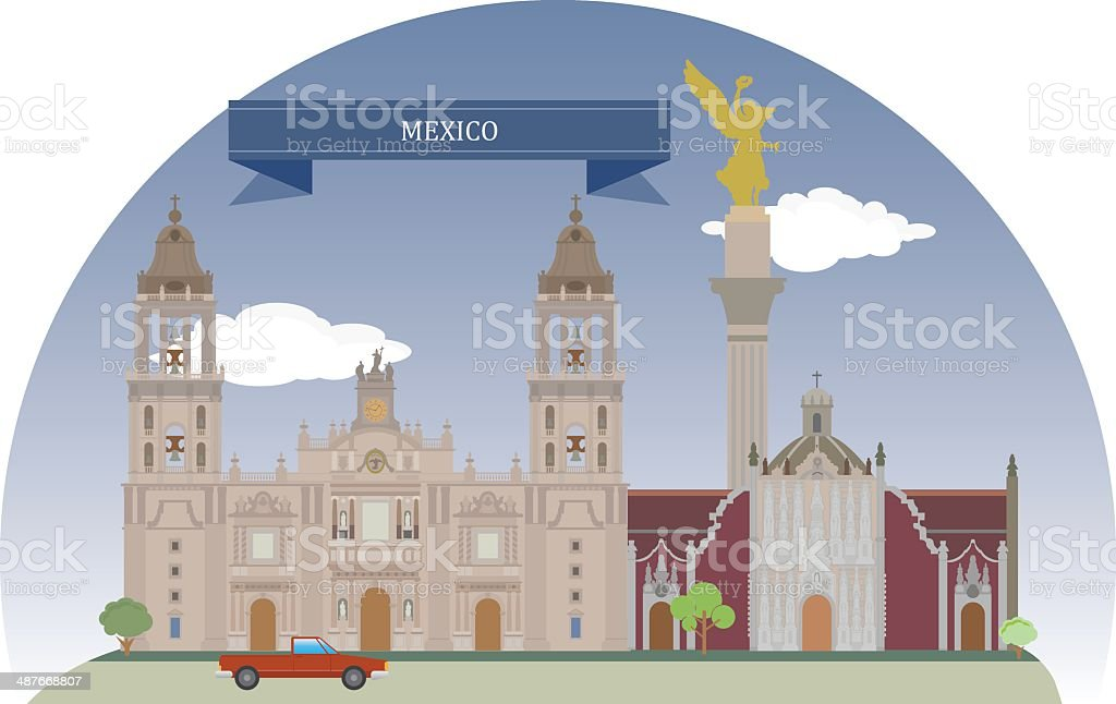Mexico City, Mexico vector art illustration