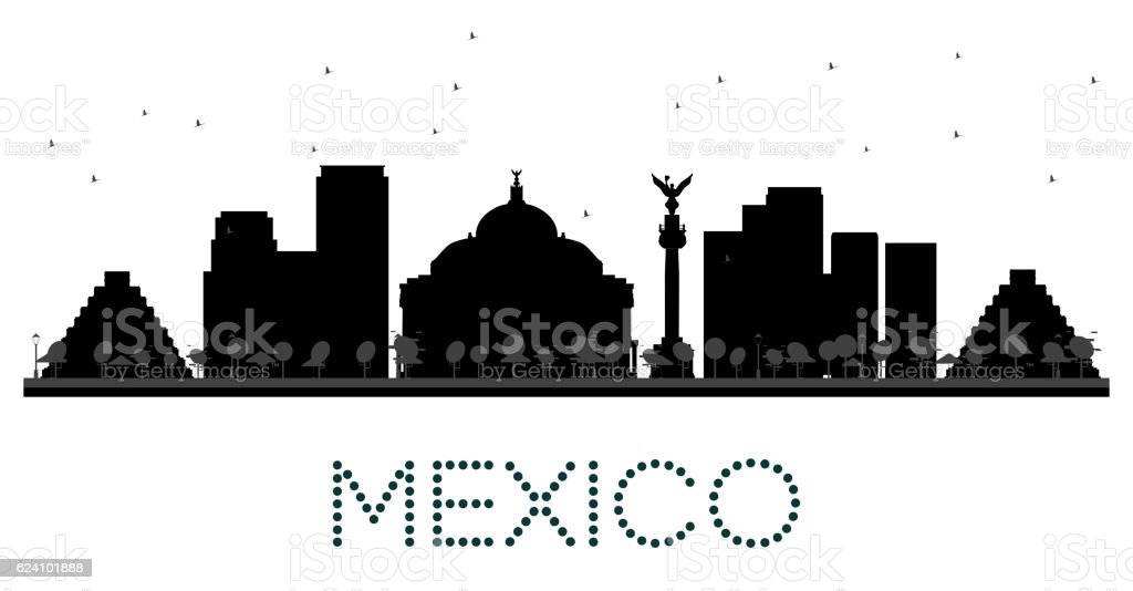 Mexico City skyline black and white silhouette. vector art illustration