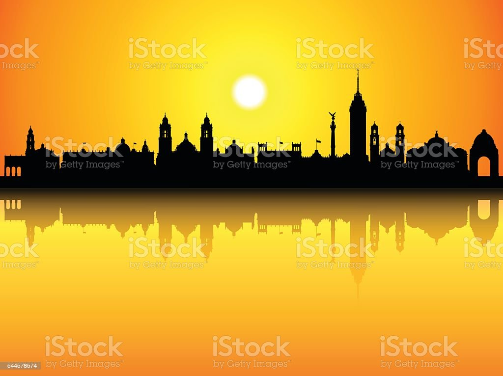 Mexico City Skyline (Complete, Detailed, Moveable Buildings) vector art illustration