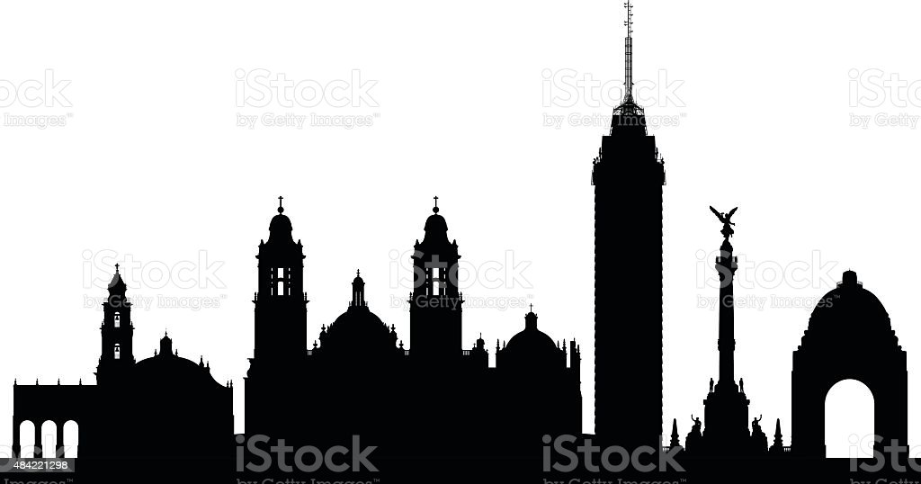 Mexico City (Complete, Moveable Buildings) vector art illustration