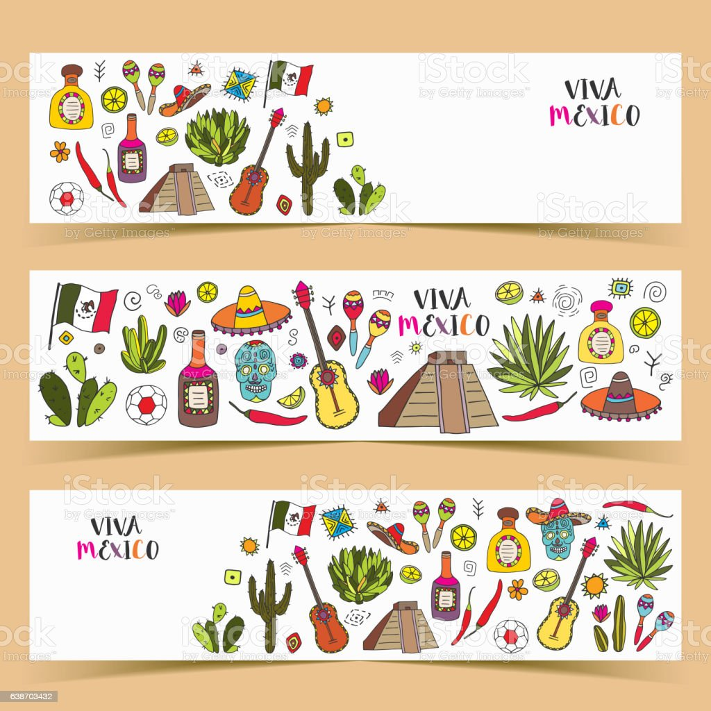 Mexico colored doodle banners with traditions culture isolated e vector art illustration
