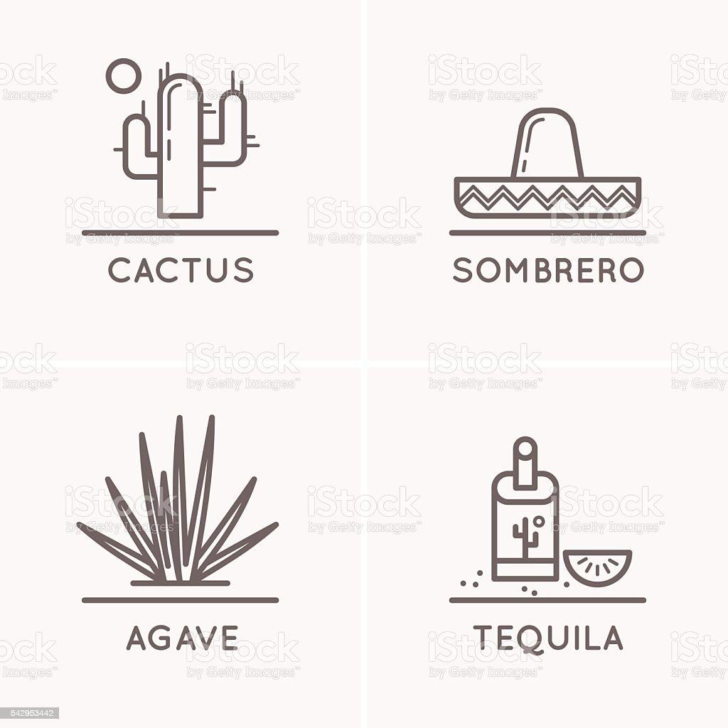 Mexico culture set vector art illustration