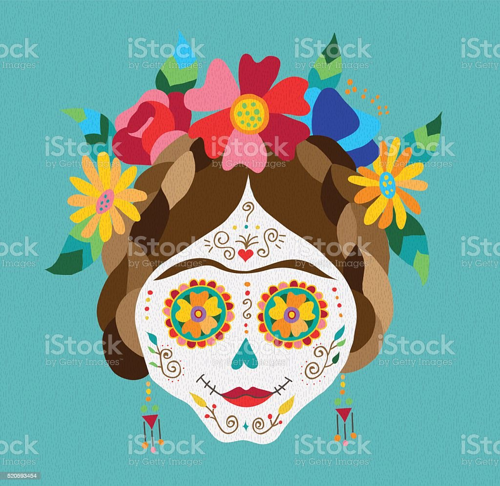 Mexico day of the dead skull and spring decoration vector art illustration