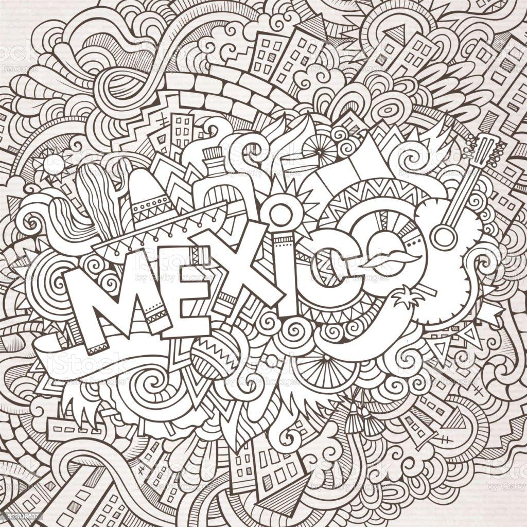 Mexico doodles elements background vector art illustration