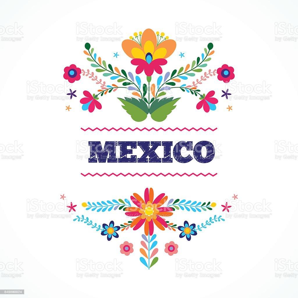 Mexico flowers ornament. Vector illustration. vector art illustration