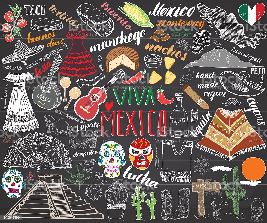 Mexico hand drawn sketch set vector illustration chalkboard vector art illustration