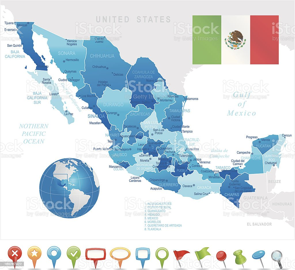 Mexico - highly detailed map royalty-free stock vector art
