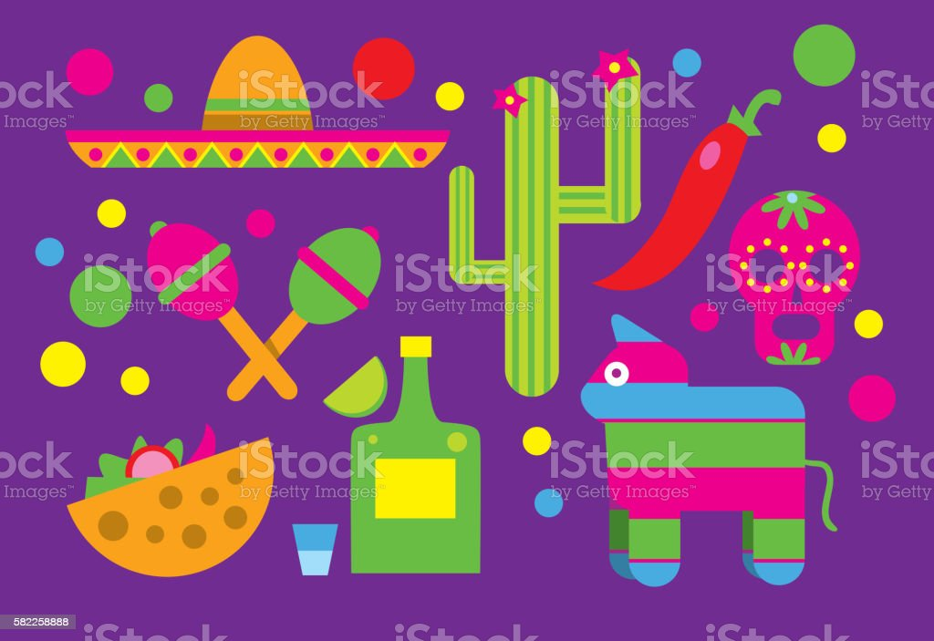 Mexico icons, Cactus, Sombrero, Maracas, Tequila. vector art illustration