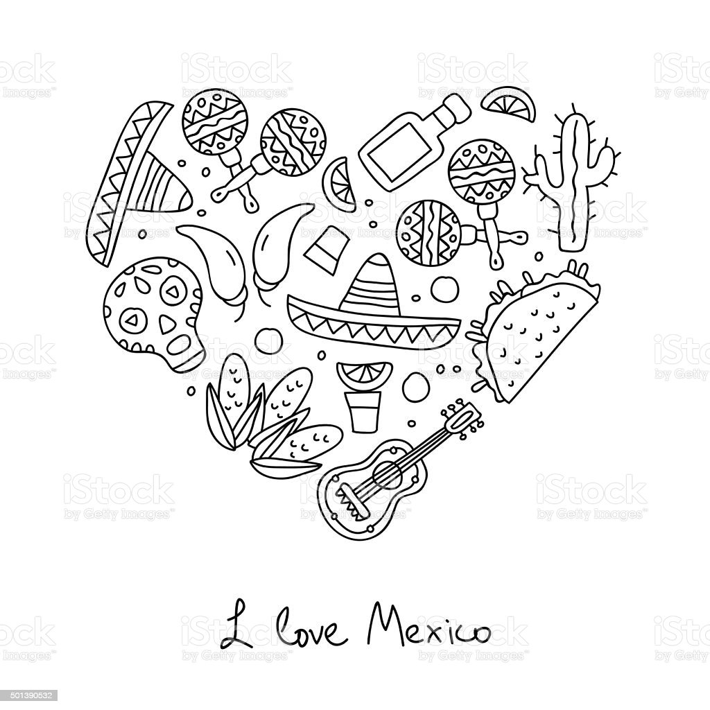 Mexico. Icons in the shape of a heart vector art illustration
