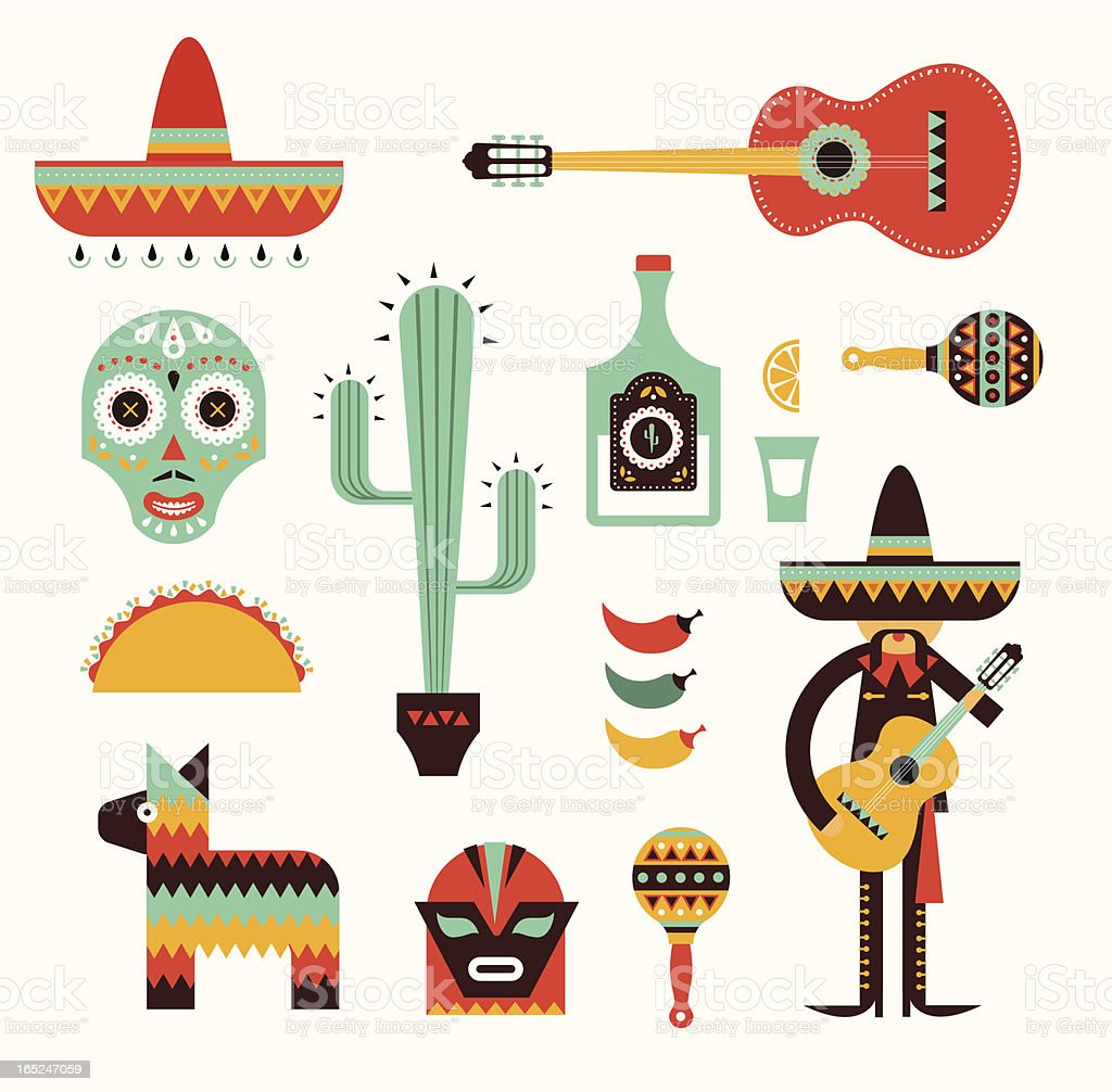 Mexico icons vector art illustration