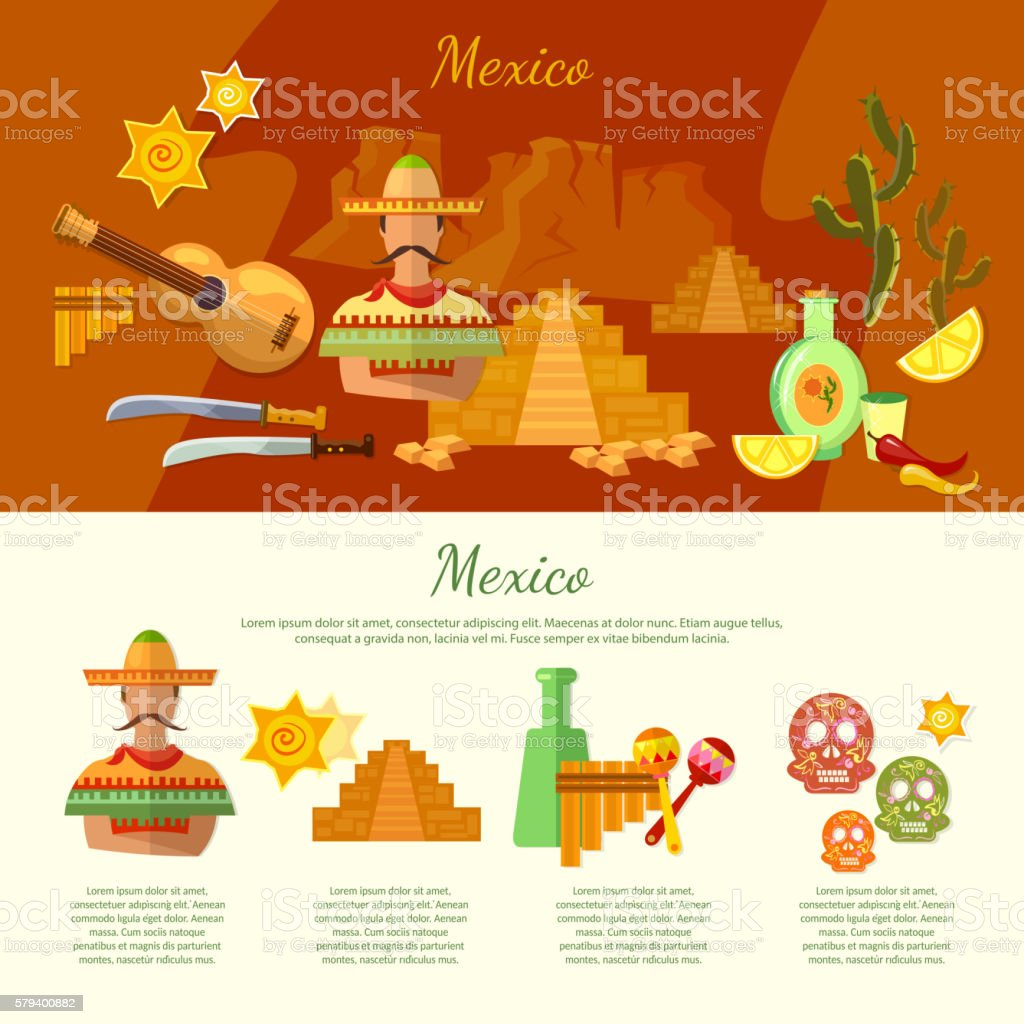 Mexico infographics mexican culture and food vector art illustration