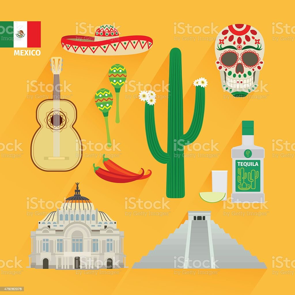 Mexico landmarks icons vector art illustration
