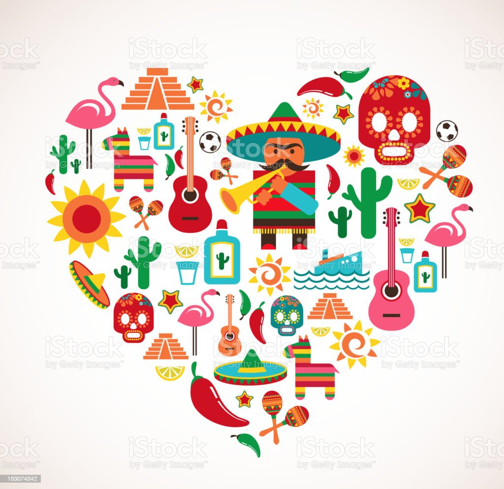 Mexico love - heart with set of vector icons vector art illustration