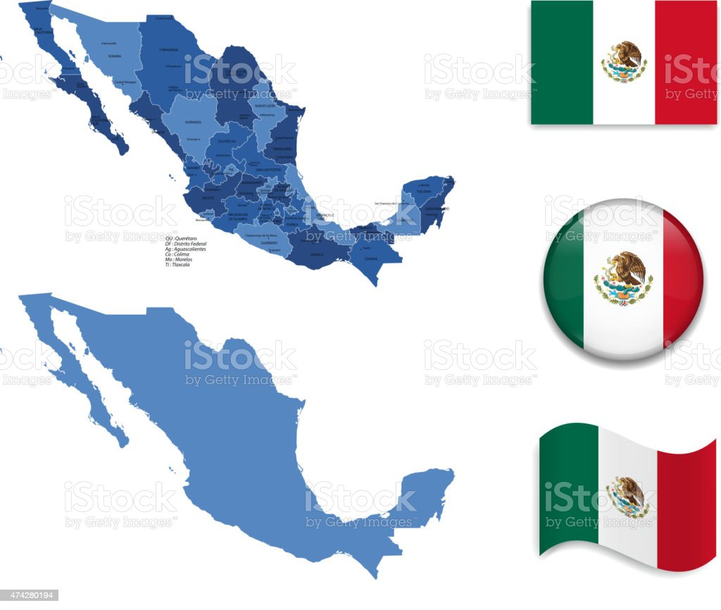Mexico Map and Flag Collection vector art illustration
