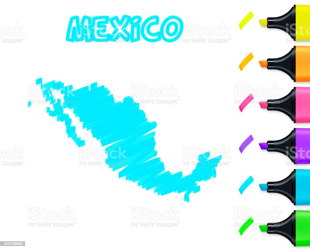 Mexico map hand drawn on white background, blue highlighter vector art illustration