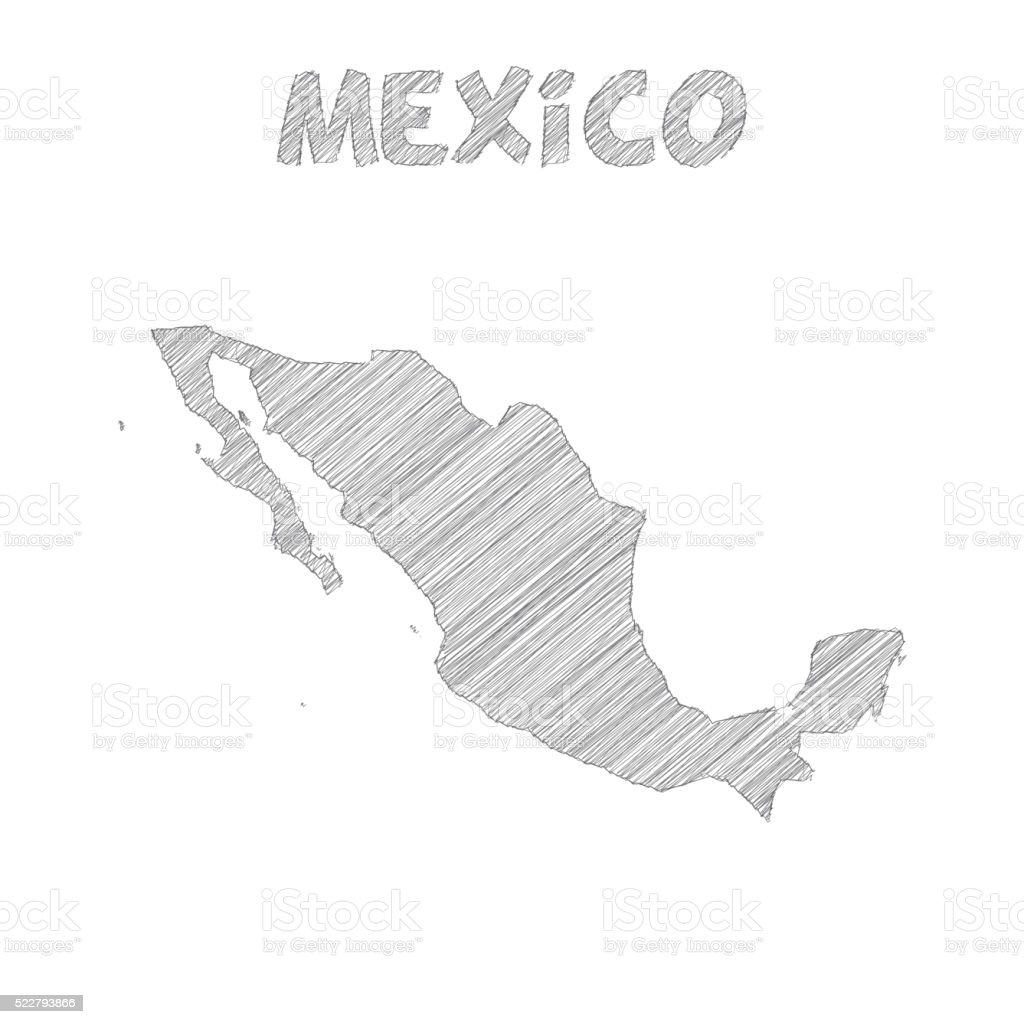 Mexico map hand drawn on white background vector art illustration