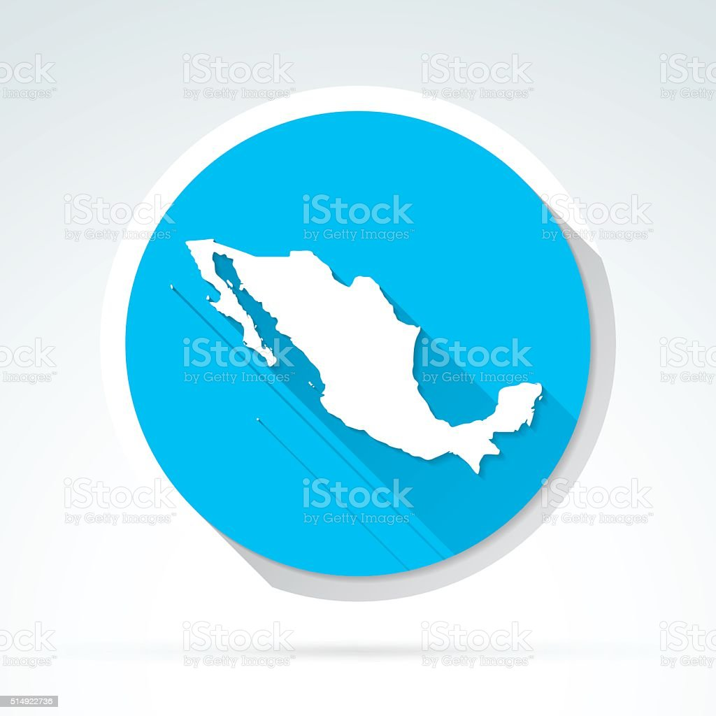 Mexico map icon, Flat Design, Long Shadow vector art illustration
