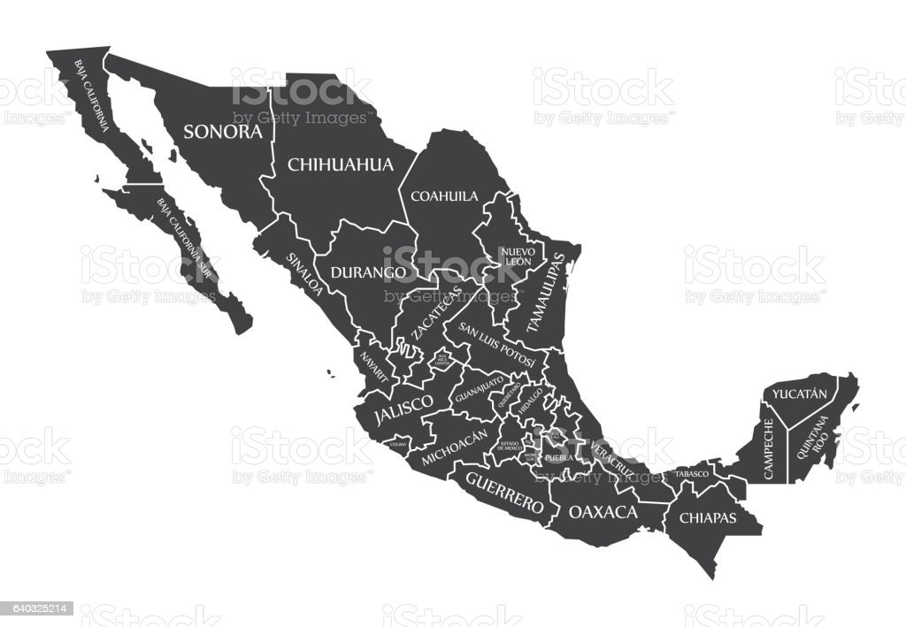 Mexico Map labelled black vector art illustration