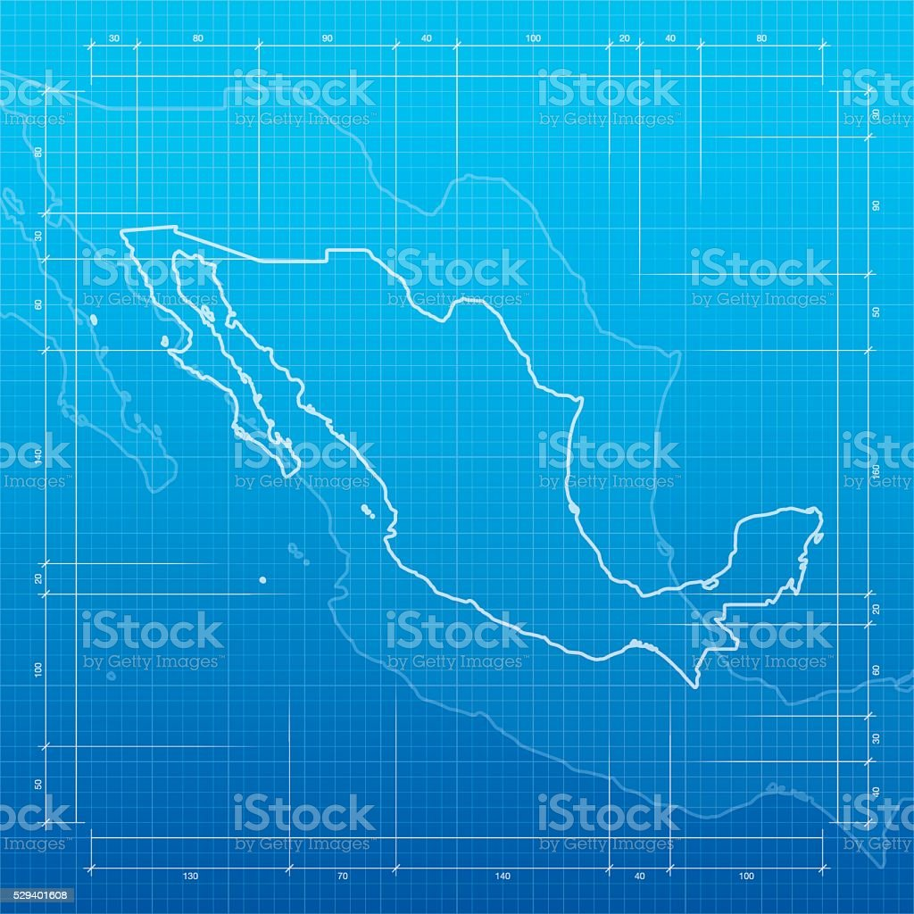 Mexico map on blueprint background vector art illustration