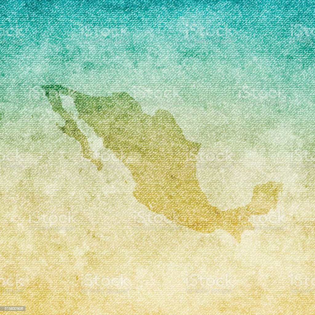 Mexico Map on grunge Canvas Background vector art illustration