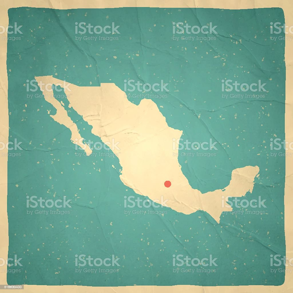 Mexico Map on old paper - vintage texture vector art illustration