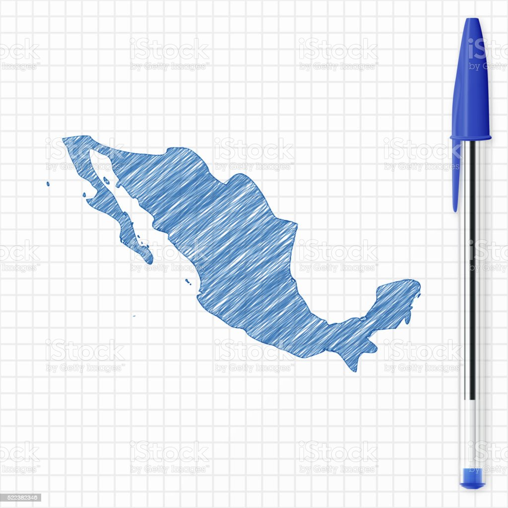 Mexico map sketch on grid paper, blue pen vector art illustration