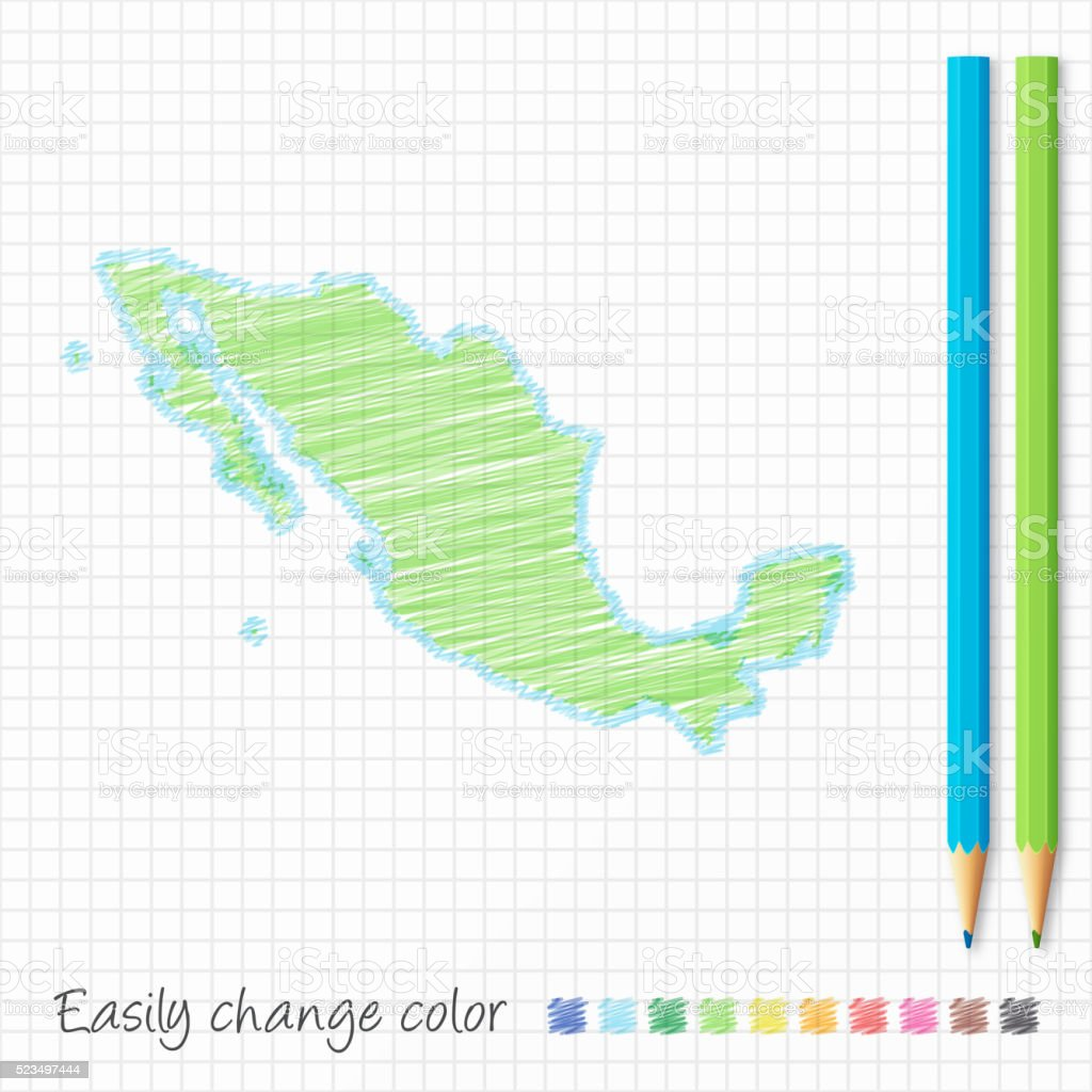 Mexico map sketch with color pencils, on grid paper vector art illustration