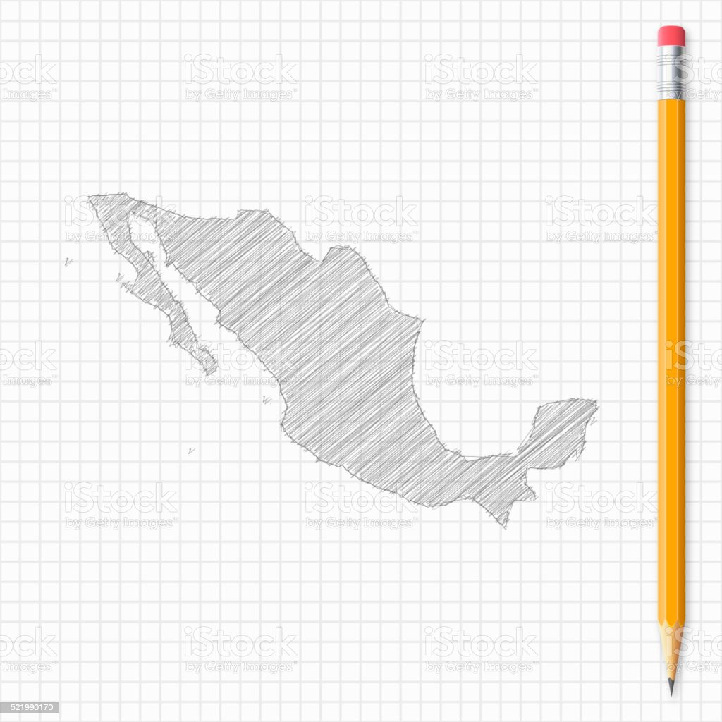 mexico map sketch with pencil on grid paper stock vector art