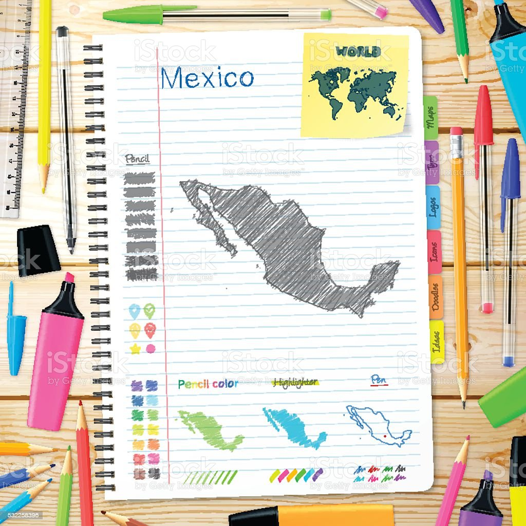 Mexico maps hand drawn on notebook. Wooden Background vector art illustration