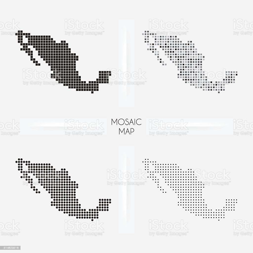 Mexico maps - Mosaic squarred and dotted vector art illustration